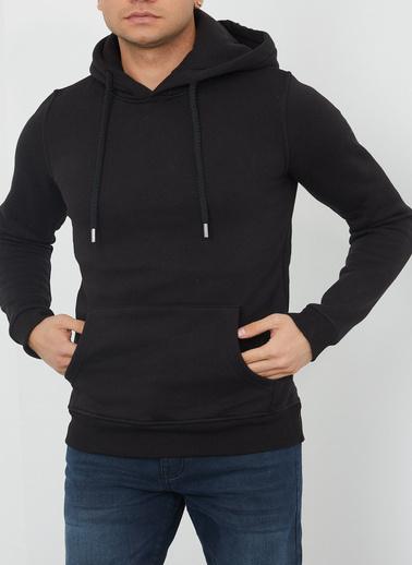 XHAN Siyah Kanguru Cep Kapüşonlu Sweatshirt 1Kxe8-44359-02 Siyah